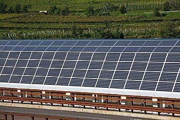 Photovoltaic system near Brennero railway, A22, Isera, Vallagarina, Trentino Alto Adige, Italy, Europe