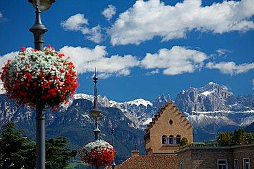 View of Catinaccio mountain from Bolzano town, Dolomiti, Sudtirol, Alto Adige, Italy, Europe