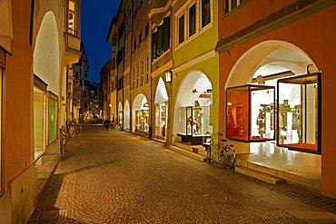 Foreshortening, Portici street at the twilight, Bolzano, Sudtirol, Alto Adige, Italy Europe