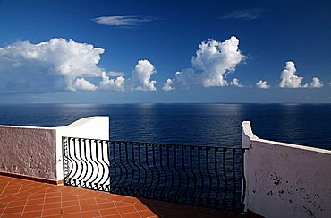 view from terrace of Punta Scario hotel, Salina, Sicily, Eolie island, Italy, Europe