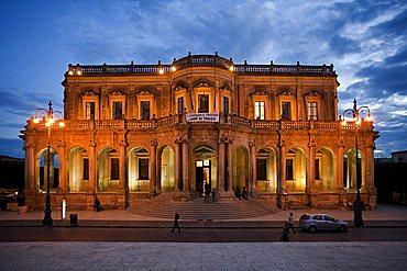 Ducezio palace town hall at night, Noto, Sicily, Italy