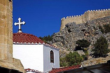 Church an the castle, Lindos, Dodecanese, Rhodes Island, Greek Island, Greece, Europe