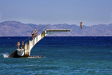 Dive from the divingboard, Rhodes, Dodecanese, Greek Islands, Greece,