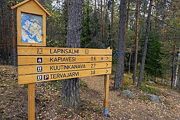 Sign, Repovesi National Park, Finland, Scandinavia, Europe