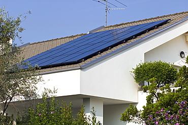 solar power system on house, dalmine, italy