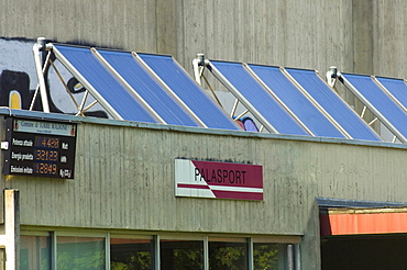 solar panels and display, torre boldone, italy