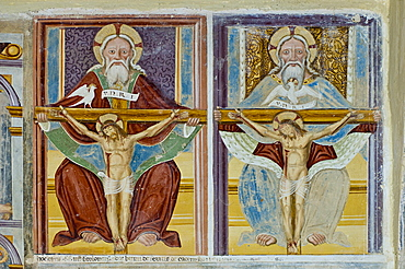 trinita' church: frescoes, casnigo, italy
