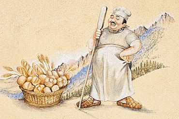 fresco: baker shop, vilminore di scalve, italy