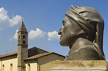 village and dante alighieri statue, poppi, italy