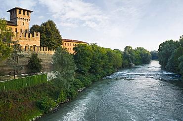castle and oglio river, pontevico, italy