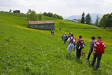 hikers, farno mountain, italy