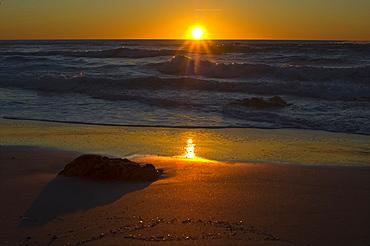Sunset on the beach of  San Giovanni di Sinis , Sinis, Cabras, Oristano District, Sardinia, Italy, Europe