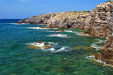 La Conca rocky inlet, Carloforte, St Pietro Island, Carbonia - Iglesias district, Sardinia, Italy, Europe