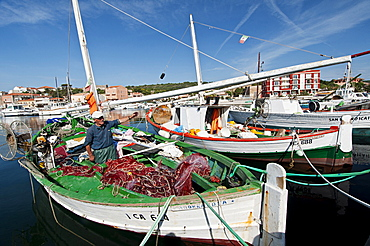 Bilancella, tipical fishing boats, Carloforte, St Pietro Island, Sulcis Iglesiente, Carbonia Iglesias, Sardinia, Italy, Europe