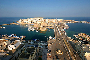 Panoramic view of the old town, Gallipoli, Salentine Peninsula, Apulia, Italy