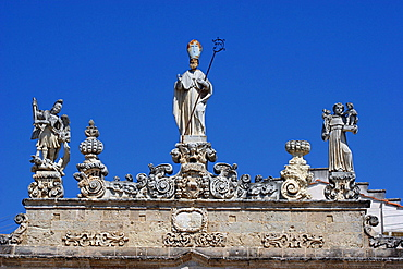 Details of Sedile palace, Salandra square, Nardv=, Salentine Peninsula, Apulia, Italy