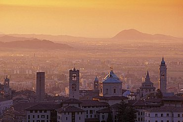 Sunrise over the city, Bergamo Alta, Lombardy, Italy
