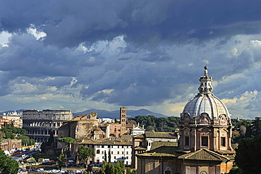 Rome. Italy. Colosseo and Fori Imperiali view.