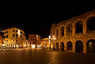 Bra` square by night,  Verona near Arena, Veneto, Italy, Europe