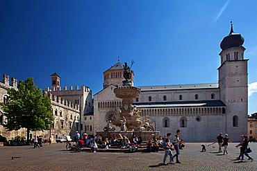 Nettuno Fountain in Duomo square , Trento, Trentino, Italy, Europe