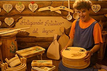 Marchetti Antonella at her workshop, Bolbeno, Rendena valley, Trentino, Italy, Europe,
