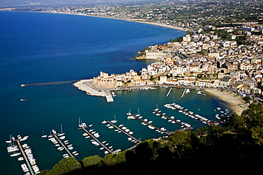 Aerial view, Castellamare del Golfo, Sicily, Italy, Europe
