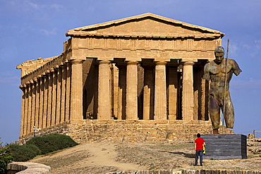 Valle dei Templi valley, Mitoraj sculpture, Agrigento, Sicily, Italy, Europe