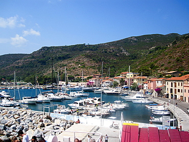 Touristi harbour, Capraia island, Tuscan archipelagos, Tuscany, Italy, Europe