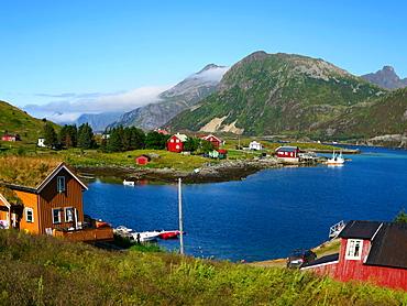 Lofoten, Flakstadoya island, view of a little fishermen village, Norway, Europe