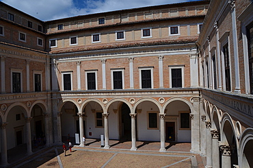 Courtyard, Palazzo Ducale Palace; Urbino, Marche, Italy, Europe