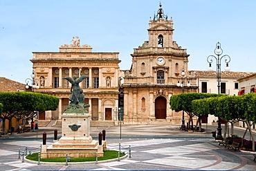 Piazza del Popolo square, Comunale Theatre on the Left and Chiesa delle Grazie church on the right, Vittoria village, Sicily, Italy, Europe