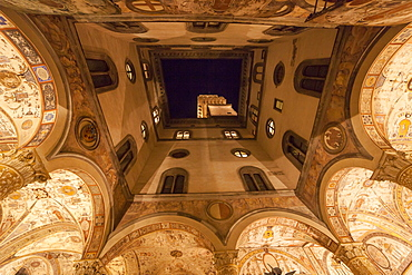 Palazzo Vecchio courtyard at night, Florence, Tuscany, Italy, Europe