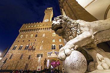Palazzo Vecchio palace and Loggia dei Lanzi, Florence,Italy.