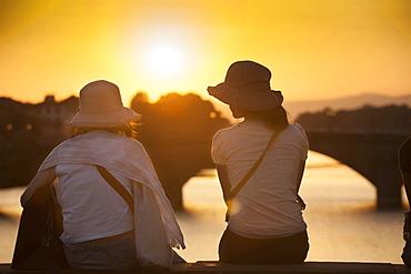 Sunset on Arno river, Florence, Tuscany, Italy, Europe