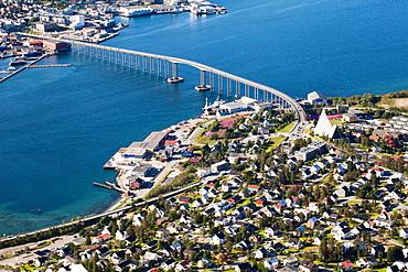 Troms0, view of the Tromsø Bridge cantilever road bridge from the Mount Storsteinen, Norway, Europe