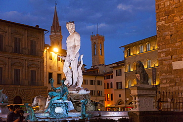 Neptune fountain, Signoria square at dusk Florence, Tuscany, Italy, Europe