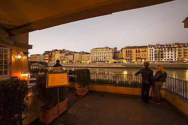 Arno river at sunset, Florence,Tuscany, Italy, Europe