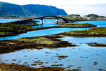 Lofoten, Flakstadoya island, the spectacular bridge, Norway, Europe