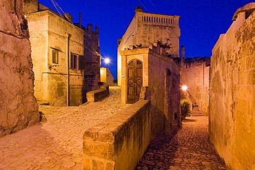 Foreshortening of Sasso Barisano, Matera, Basilicata, Italy