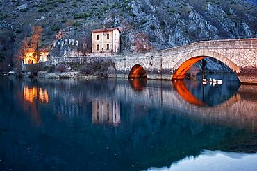 Bridge and Hermitage Villalago, Villalago, Scanno, L'Aquila, Abruzzo, Italy, Europe