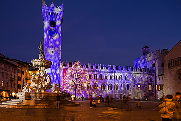 Duomo church square during the Chirstmas time, Trentino, Italy, Europe