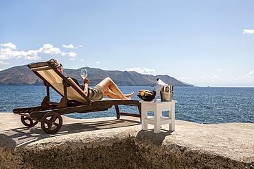 aperitif seaside, Lingua, wiew of Lipari, Salina island, Aeolian Islands, Sicily, Italy, Europe