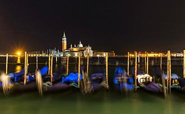 Moored gondolas in the San Marco basin, San giorgio island,Venice,Veneto,Italy, Europe