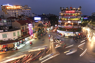 Aerial view of Hanoi at twilight at intersection locating next to Hoan Kiem lake, center of Hanoi, Vietnam, Indochina, Southeast Asia, Asia