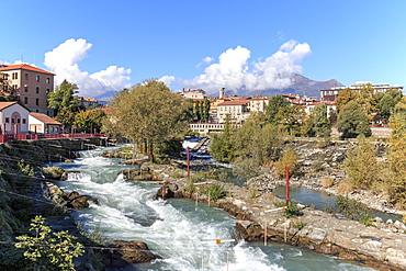 Dora Baltea River and Ivrea cityscape, Ivrea, Piedmont, Italy, Europe