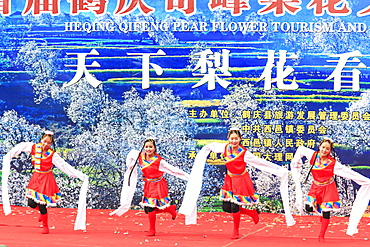 Chinese women dressed with traditional clothing dancing and singing during the Heqing Qifeng Pear Flower festival, China