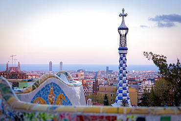 Details of the modernism Park Guell designed by Antoni Gaudí, Park Guell, Barcelona, Spain, Europe