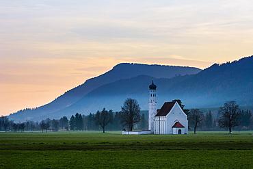 Saint Coloman chapel at dawn, at Hohenschwangau village, near Fussen, Bavaria, Germany, Europe