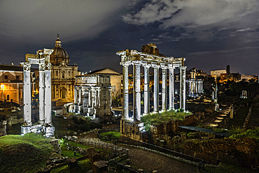 Imperial Fora at night, archaeological site,Fori Imperiali, UNESCO, World Heritage Site, Rome, Lazio, Italy, Europe