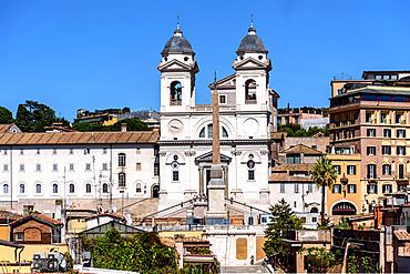 Fligh of steps, Church, Scalinata, Trinita dei Monti, Chiesa Trinita dei Monti, Tetti, Rome, Lazio, Italy, Europe